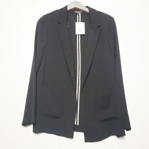 Topshop Long Open Front Black Blazer NWT
